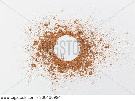 The Simple Frame Of The Free Space Inside A Chaotic Powder, Abstract Background Of Cocoa, Paper The