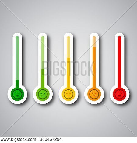 Thermometer As Stress Level Scale Emotions. Stress Level Scale Emotions. Color Level Indicator.