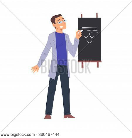 Scientist In Lab, Young Man In Coat Doing Chemical Research In Science Laboratory, Man Writing On Th