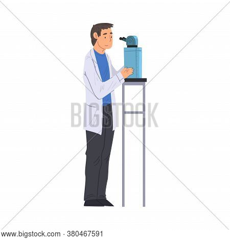 Scientist In Lab, Man In White Coat Doing Medical Or Chemical Researches With Microscope Vector Illu