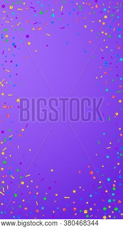 Festive Unusual Confetti. Celebration Stars. Festive Confetti On Violet Background. Fascinating Fest