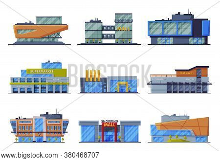 Shopping Mall Buildings Collection, Commercial Center Or Supermarket Facades, Urban Architecture Des