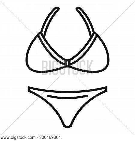 Woman Striped Swimwear Icon. Outline Woman Striped Swimwear Vector Icon For Web Design Isolated On W