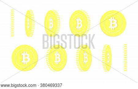 Bitcoin, Internet Currency Rotating Coins Set, Animation Ready. Yellow Btc Gold Coins Rotation. Cryp