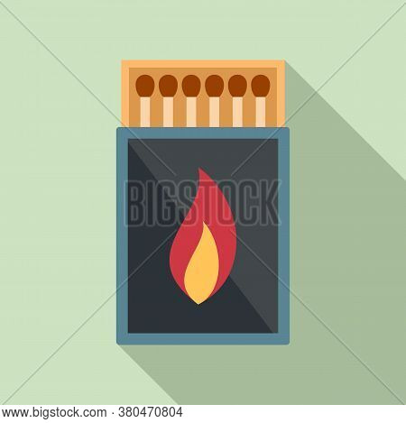 Survival Matches Box Icon. Flat Illustration Of Survival Matches Box Vector Icon For Web Design