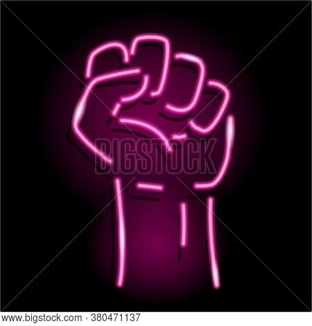 Neon Icon Of Raised Fist Isolated On Black Background. Sign Of Human Hand Up. Protest, Strength, Vic