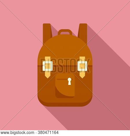 Survival Backpack Icon. Flat Illustration Of Survival Backpack Vector Icon For Web Design