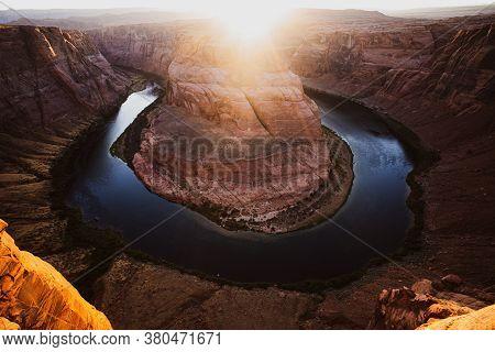 Beautiful Sunrise At Horseshoe Bend On Colorado River In Glen Canyon, Arizona, Usa. Arizona Horsesho