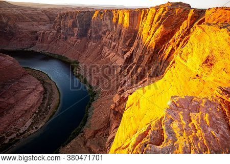 Grand Canyon, Usa. Beautiful Landscape Of Grand Canyon National Park. Beautiful Sunset At Grand Cany
