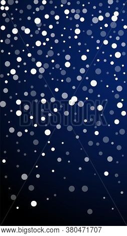 White Dots Christmas Background. Subtle Flying Snow Flakes And Stars On Dark Blue Background. Appeal