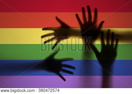 Lgbt Support,  Hands And Rainbow Colors  Spectrum Flag - Pride Flag Lgbt Rights Concept