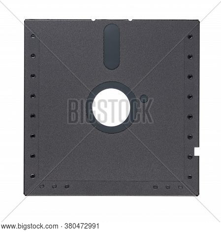 Black 5.25-inch Floppy Disk Or Diskette Isolated On White Background. Rear View