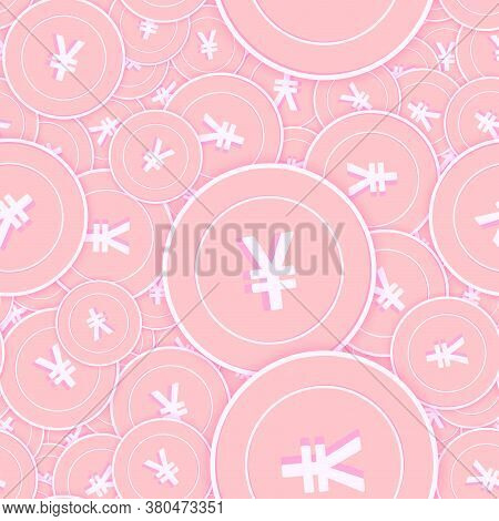 Chinese Yuan Copper Coins Seamless Pattern. Posh Scattered Pink Cny Coins. Success Concept. China Mo