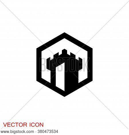 Castle Icon. Castle Tower Icon Or Symbol. Vector Illustration.
