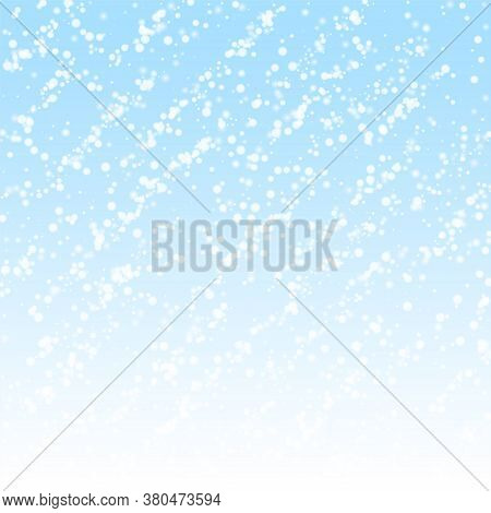 Amazing Falling Snow Christmas Background. Subtle Flying Snow Flakes And Stars On Winter Sky Backgro