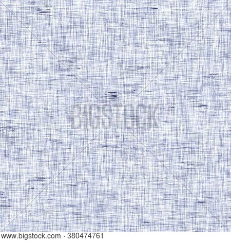 Seamless Indigo Mottled Texture. Blue Woven Boro Cotton Dyed Effect Background. Japanese Repeat Bati