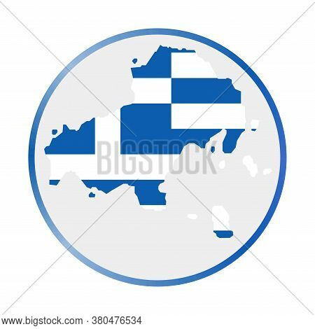 Skiathos Icon. Shape Of The Island With Skiathos Flag. Round Sign With Flag Colors Gradient Ring. Cr