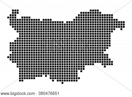 Bulgaria Map. Map Of Bulgaria In Dotted Style. Borders Of The Country Filled With Rectangles For You
