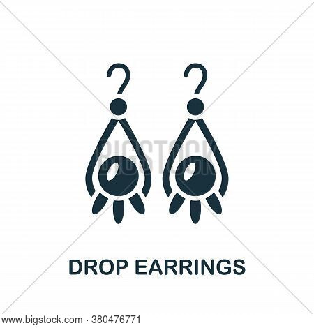 Drop Earrings Icon. Simple Element From Jewelery Collection. Creative Drop Earrings Icon For Web Des