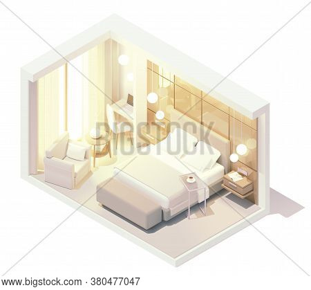 Vector Isometric Hotel Suite Interior Cross-section. Hotel Room With Double Bed, Big Window, Tv And