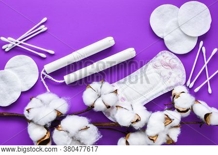 All Made Of Cotton. Hygiene Accessories - Sanitary Napkins, Cotton Pads, Cotton Swabs, Tampons On Bl