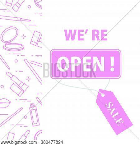 Vector Illustration Reopening Of Cosmetics Store, Beauty Shop After Covid-19 Quarantine Coronavirus