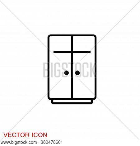 Cupboard Icon, Furniture And Home Decor Icons. Vector Illustration.