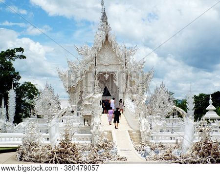 Chiang Rai. Thailand, June 17, 2017: Wat Rong Khun. Public Entering The Hallway That Leads To The Ma