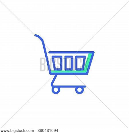 Shopping Trolley Icon Vector, Filled Flat Sign, Shopping Cart Bicolor Pictogram, Green And Blue Colo