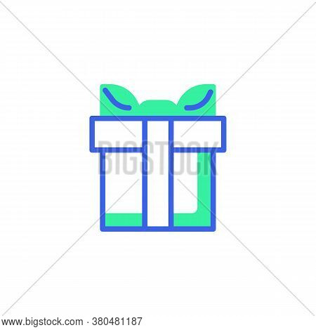 Gift Box With Bow Ribbon Icon Vector, Filled Flat Sign, Gift Bicolor Pictogram, Green And Blue Color