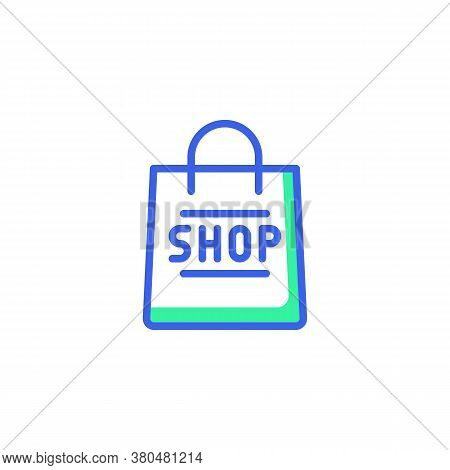Shopping Bag Icon Vector, Filled Flat Sign, Bicolor Pictogram, Shop Bag Green And Blue Colors. Symbo