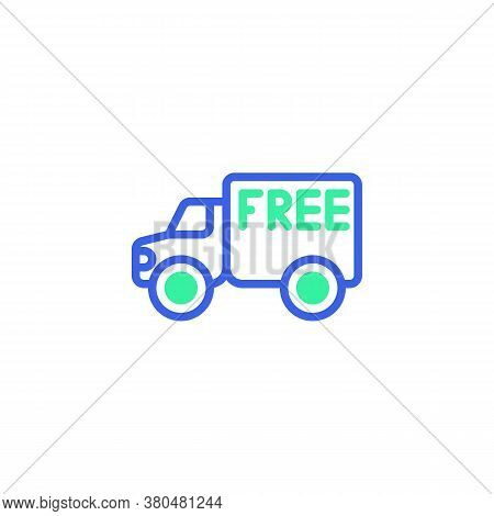Delivery Truck Free Icon Vector, Filled Flat Sign, Free Delivery Bicolor Pictogram, Green And Blue C