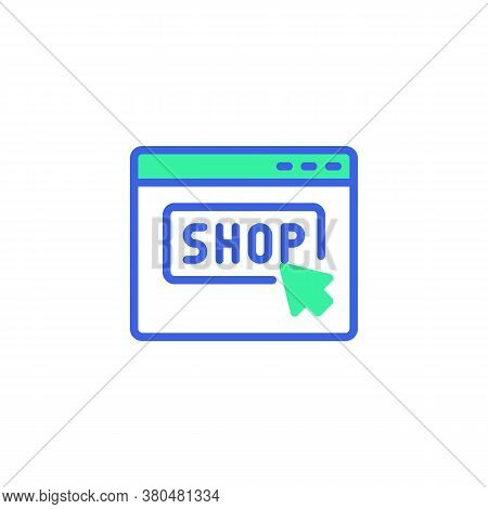 Click Shop Website Icon Vector, Filled Flat Sign, Online Shop Page Bicolor Pictogram, Green And Blue