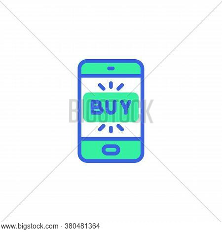 Smartphone Buy Screen Icon Vector, Filled Flat Sign, Online Mobile Shopping Bicolor Pictogram, Green