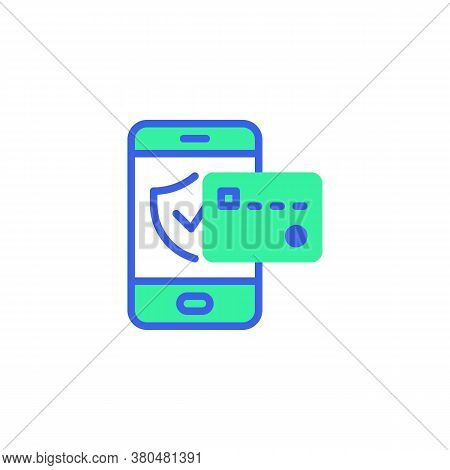Mobile Phone Security Payment Icon Vector, Filled Flat Sign, Bicolor Pictogram, Smartphone And Credi