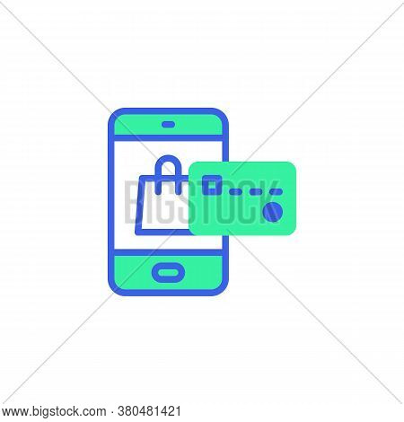 Smartphone With Shopping Bag And Credit Card Icon Vector, Filled Flat Sign, Online Shopping Payment
