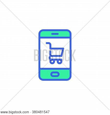 Mobile Phone And Shopping Cart Icon Vector, Filled Flat Sign, Online Shopping Bicolor Pictogram, Gre
