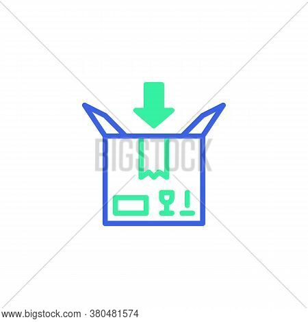 Cardboard Box And Arrow Icon Vector, Filled Flat Sign, Add Parcel Box Bicolor Pictogram, Green And B