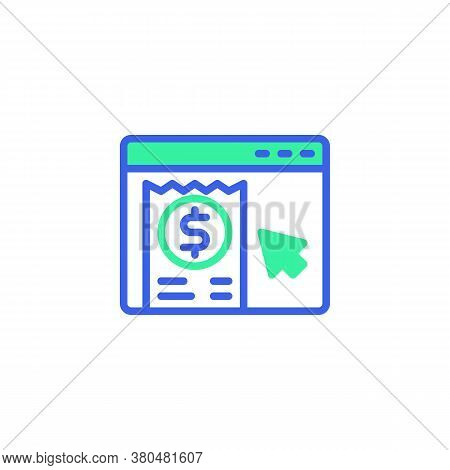 Online Shopping Invoice Icon Vector, Filled Flat Sign, Online Bill Payment Bicolor Pictogram, Green