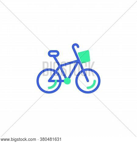 Bicycle With Basket Icon Vector, Filled Flat Sign, Delivery Bicycle Bicolor Pictogram, Green And Blu