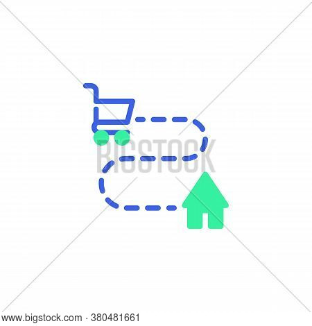 Delivery Tracking Icon Vector, Filled Flat Sign, Shopping Cart And Home Bicolor Pictogram, Green And