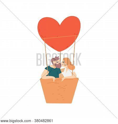 People, Couple Flying, Heart-shaped Hot Air Balloon. Man And Woman Cuddling, Kiss, Hug. Romantic Dat