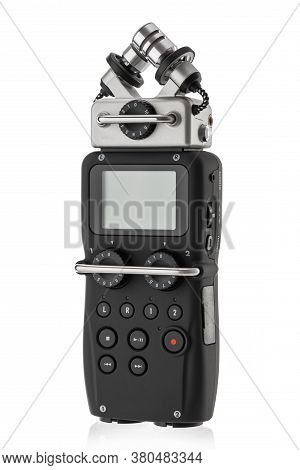 Portable Audio Recorder, Recording Ambient Sounds Isolated On White Background