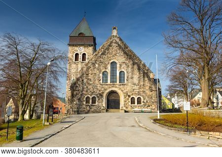 Alesund, Norway - April 14, 2018: Stone architecture of church in Alesund city of Norway