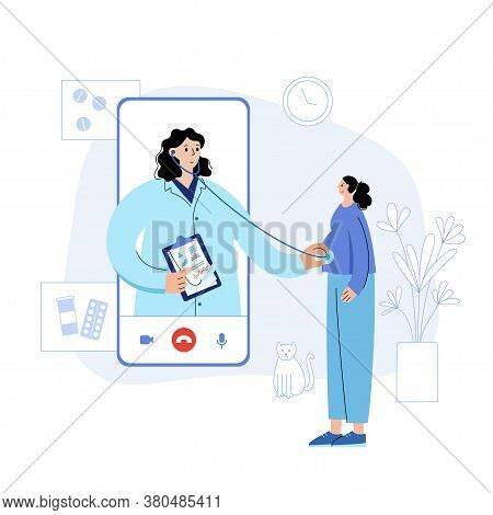 Online Women Health Clinic. Doctor Advises A Pregnant Girl On Phone By Videocall. Gynecology Exam. P