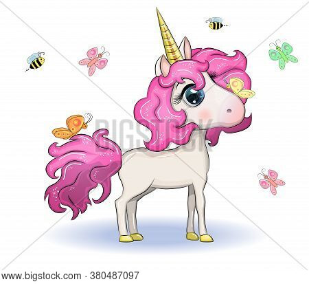 Magic Cute Unicorn, Stars, Clouds And Moon Poster, Greeting Card, Illustration With Outline