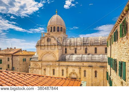 Historic Architecture With The Cathedral Of St. James, A Basilica In Sibenik. An Ancient City On The