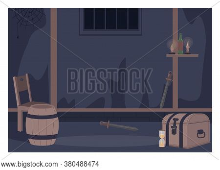 Quest Room Flat Color Vector Illustration. Live Action Role Playing Furniture. Fantasy Chamber With