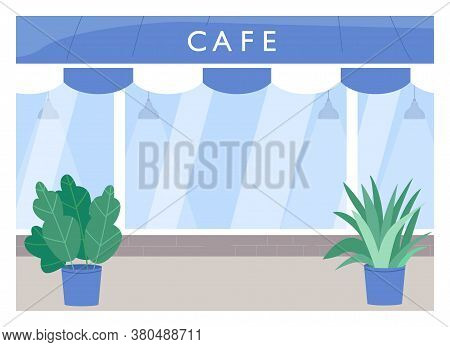 Cafe Exterior Flat Color Vector Illustration. Coffee Shop With Sidewalk. Outside Restaurant. Cantine