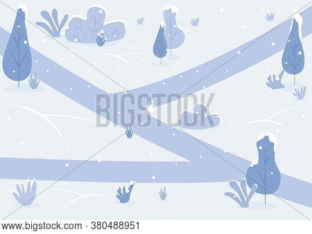Snowy Path Flat Color Vector Illustration. Winter Park Land With Shrubs. Ground Covered With Snow. F